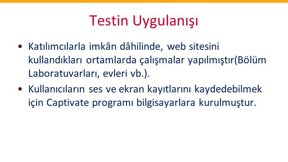 Testin Uygulanışı Katılımcılarla imkân dâhilinde, web sitesini kullandıkları ortamlarda çalışmalar yapılmıştır(Bölüm Laboratuvarları, evleri vb.).