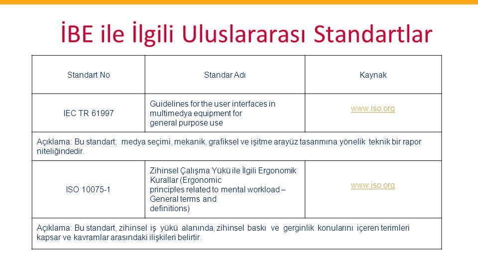 İBE ile İlgili Uluslararası Standartlar