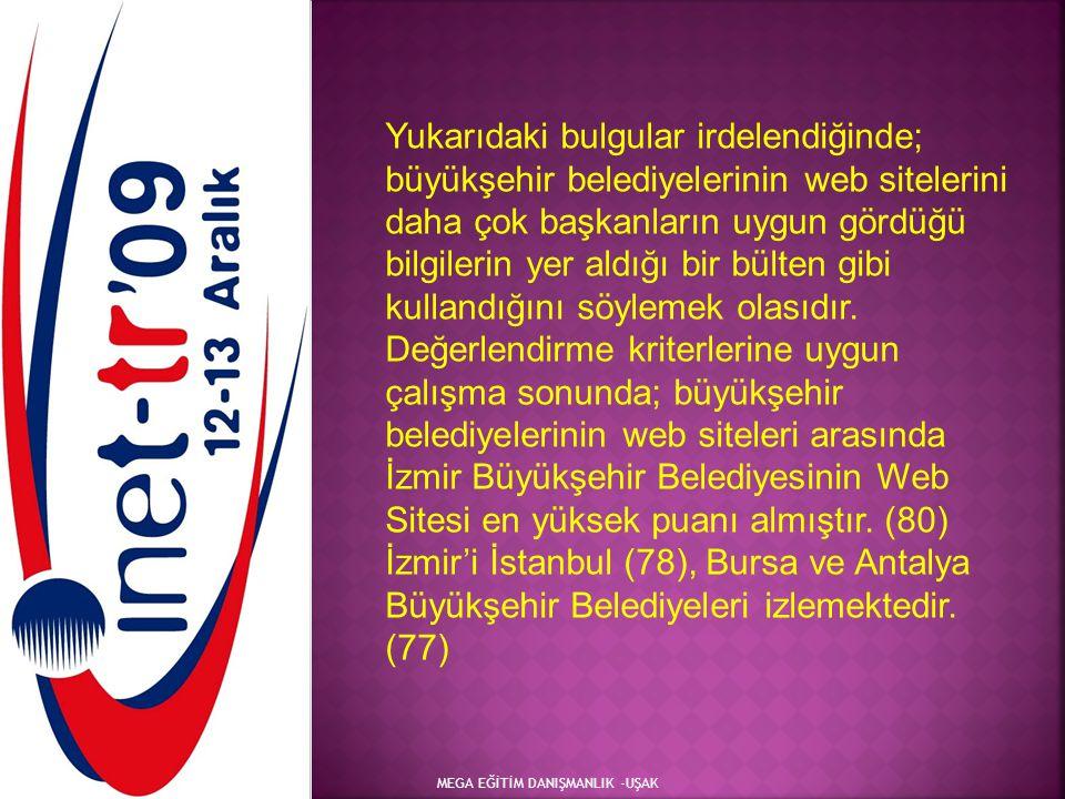 Yukarıdaki bulgular irdelendiğinde; büyükşehir belediyelerinin web sitelerini daha çok başkanların uygun gördüğü bilgilerin yer aldığı bir bülten gibi kullandığını söylemek olasıdır. Değerlendirme kriterlerine uygun çalışma sonunda; büyükşehir belediyelerinin web siteleri arasında İzmir Büyükşehir Belediyesinin Web Sitesi en yüksek puanı almıştır. (80) İzmir'i İstanbul (78), Bursa ve Antalya Büyükşehir Belediyeleri izlemektedir. (77)