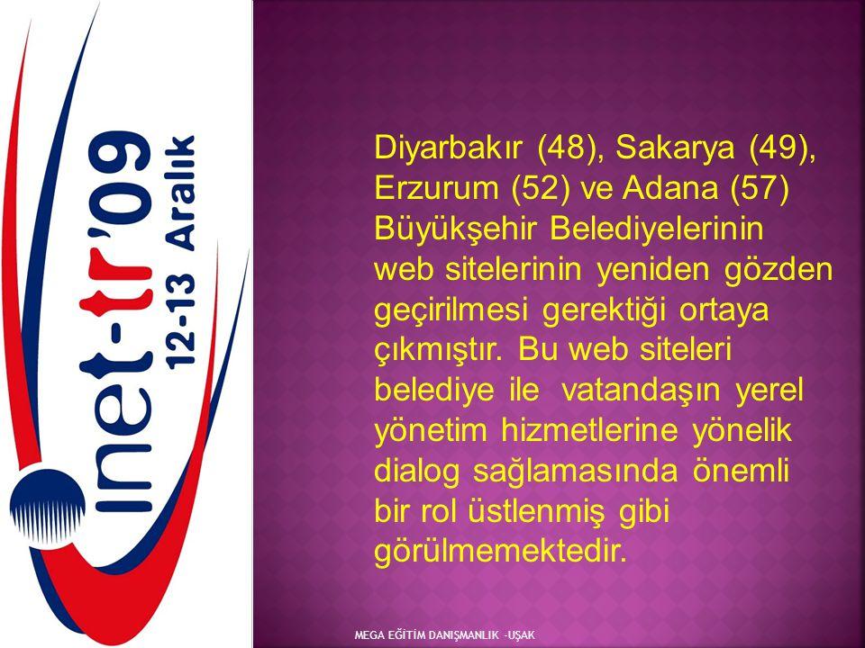 Diyarbakır (48), Sakarya (49), Erzurum (52) ve Adana (57) Büyükşehir Belediyelerinin web sitelerinin yeniden gözden geçirilmesi gerektiği ortaya çıkmıştır. Bu web siteleri belediye ile vatandaşın yerel yönetim hizmetlerine yönelik dialog sağlamasında önemli bir rol üstlenmiş gibi görülmemektedir.