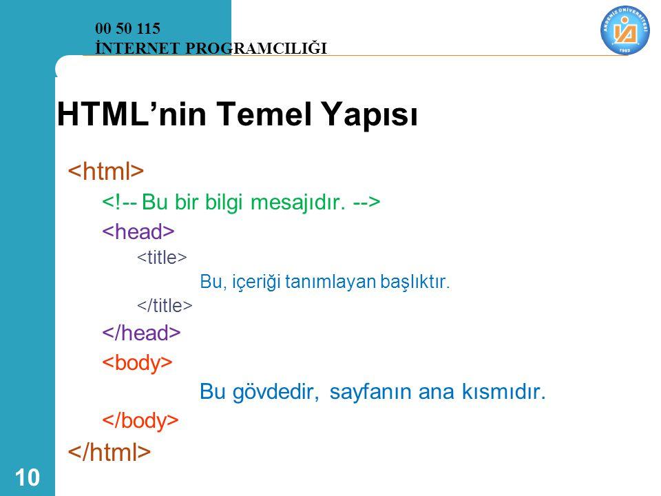 HTML'nin Temel Yapısı <html> </html>