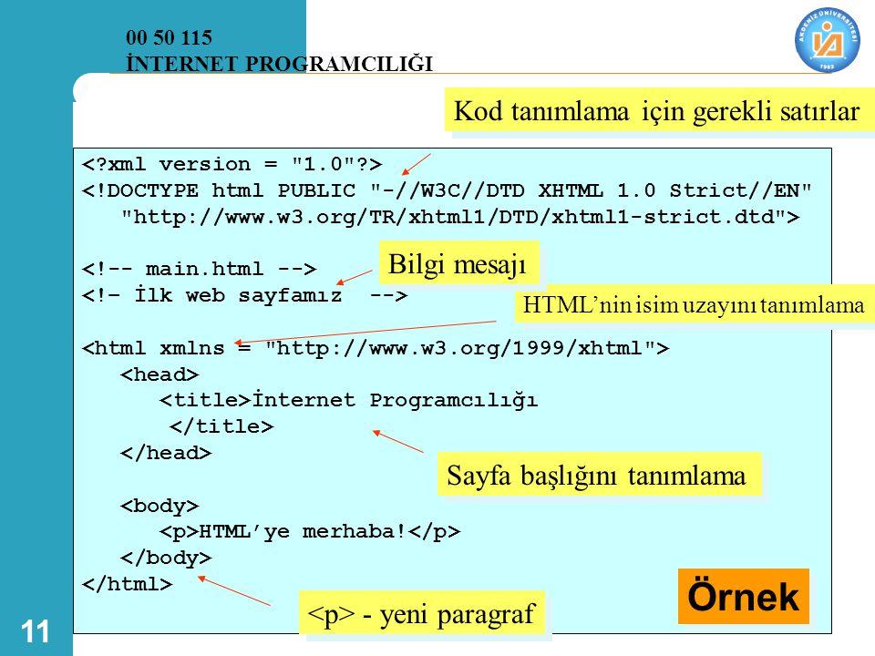 Örnek Kod tanımlama için gerekli satırlar Bilgi mesajı