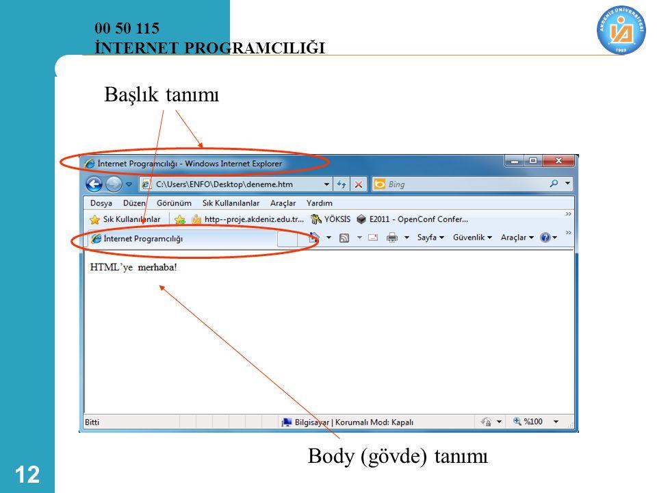 00 50 115 İNTERNET PROGRAMCILIĞI Başlık tanımı Body (gövde) tanımı