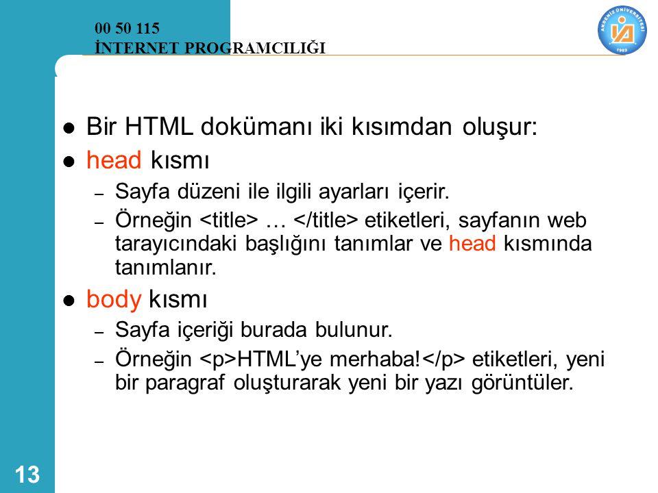 Bir HTML dokümanı iki kısımdan oluşur: head kısmı