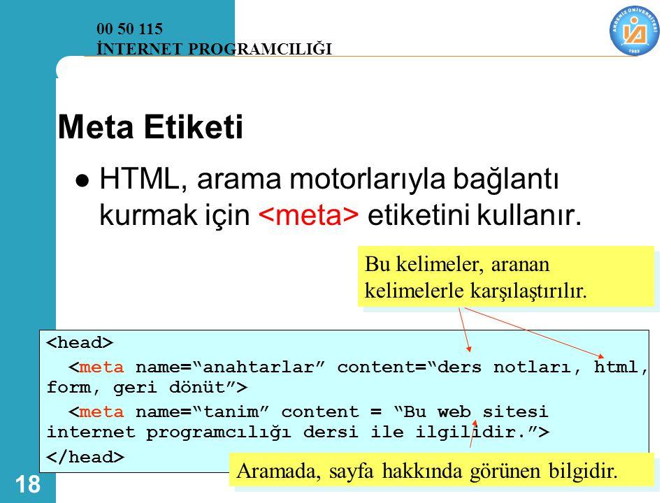 00 50 115 İNTERNET PROGRAMCILIĞI. Meta Etiketi. HTML, arama motorlarıyla bağlantı kurmak için <meta> etiketini kullanır.