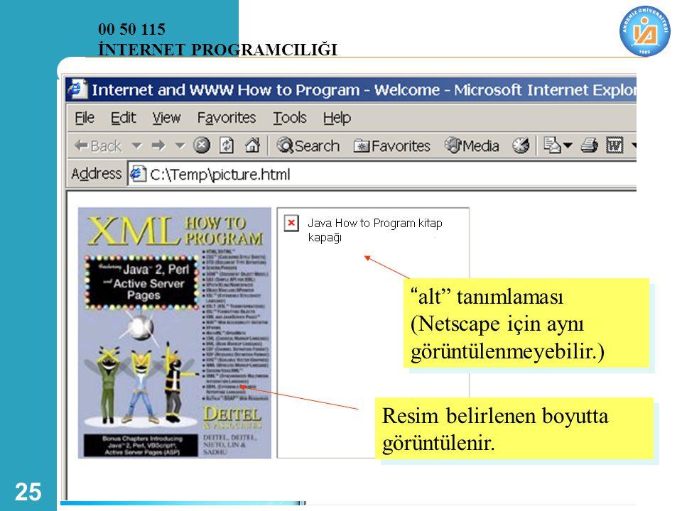 alt tanımlaması (Netscape için aynı görüntülenmeyebilir.)