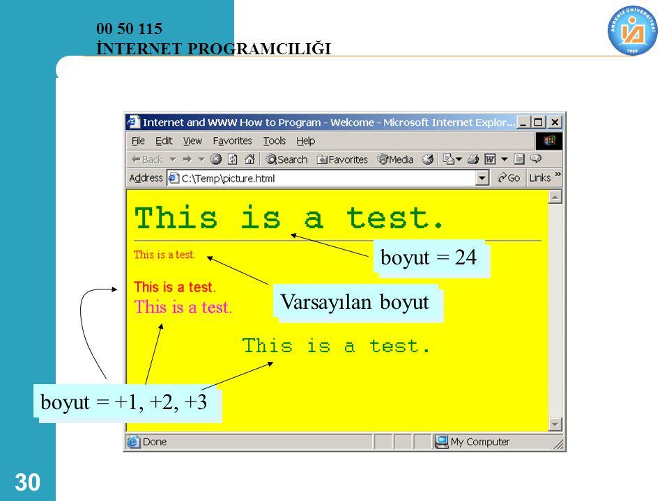boyut = 24 Varsayılan boyut boyut = +1, +2, +3 00 50 115
