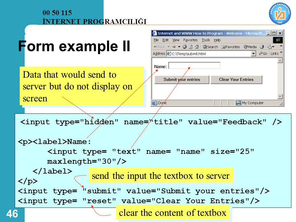 00 50 115 İNTERNET PROGRAMCILIĞI. Form example II. Data that would send to server but do not display on screen.