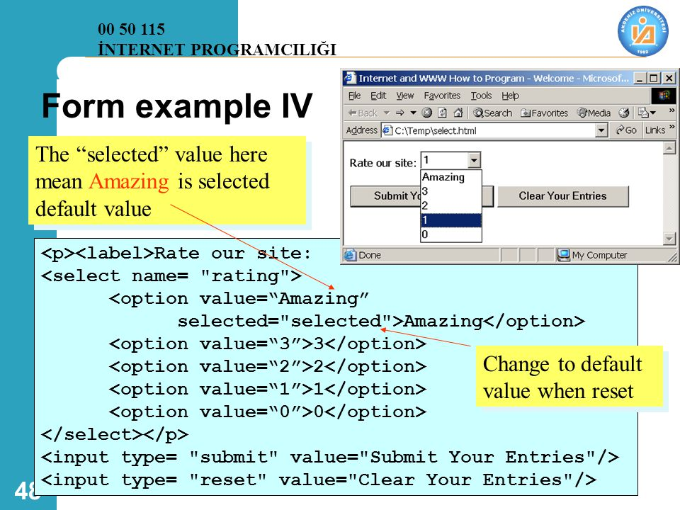 00 50 115 İNTERNET PROGRAMCILIĞI. Form example IV. The selected value here mean Amazing is selected default value.