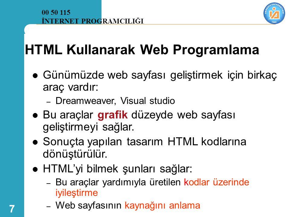 HTML Kullanarak Web Programlama