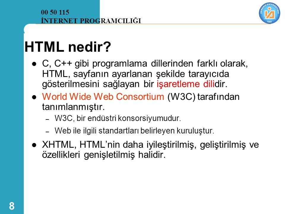 00 50 115 İNTERNET PROGRAMCILIĞI. HTML nedir