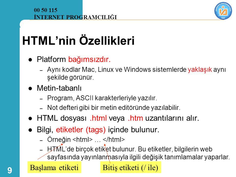 HTML'nin Özellikleri Platform bağımsızdır. Metin-tabanlı