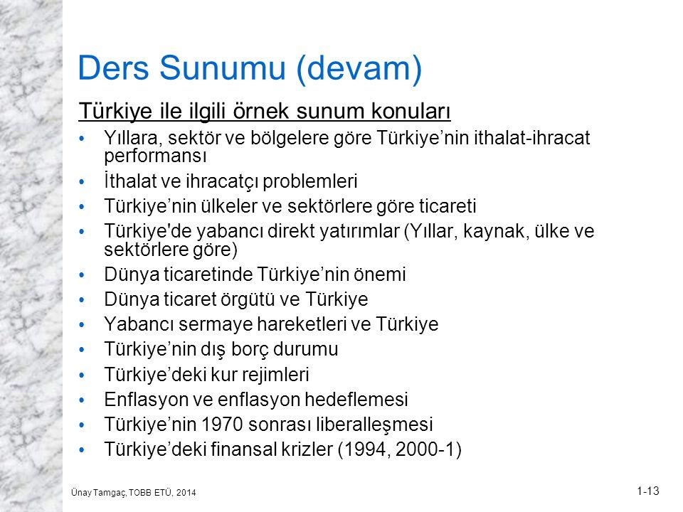 Ders Sunumu (devam) Türkiye ile ilgili örnek sunum konuları