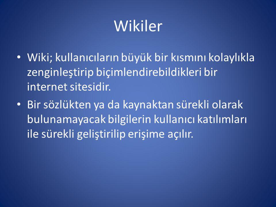 Wikiler Wiki; kullanıcıların büyük bir kısmını kolaylıkla zenginleştirip biçimlendirebildikleri bir internet sitesidir.