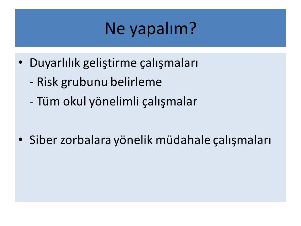 Ne yapalım Duyarlılık geliştirme çalışmaları - Risk grubunu belirleme