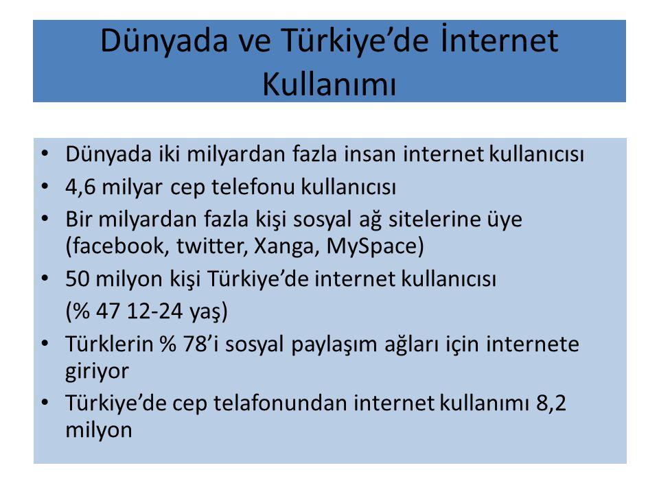 Dünyada ve Türkiye'de İnternet Kullanımı
