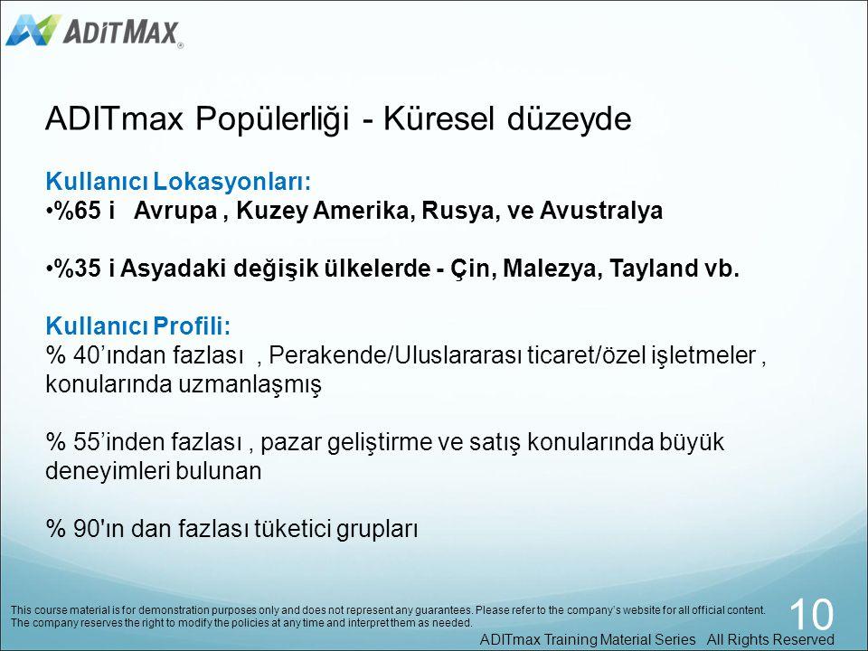 10 ADITmax Popülerliği - Küresel düzeyde Kullanıcı Lokasyonları: