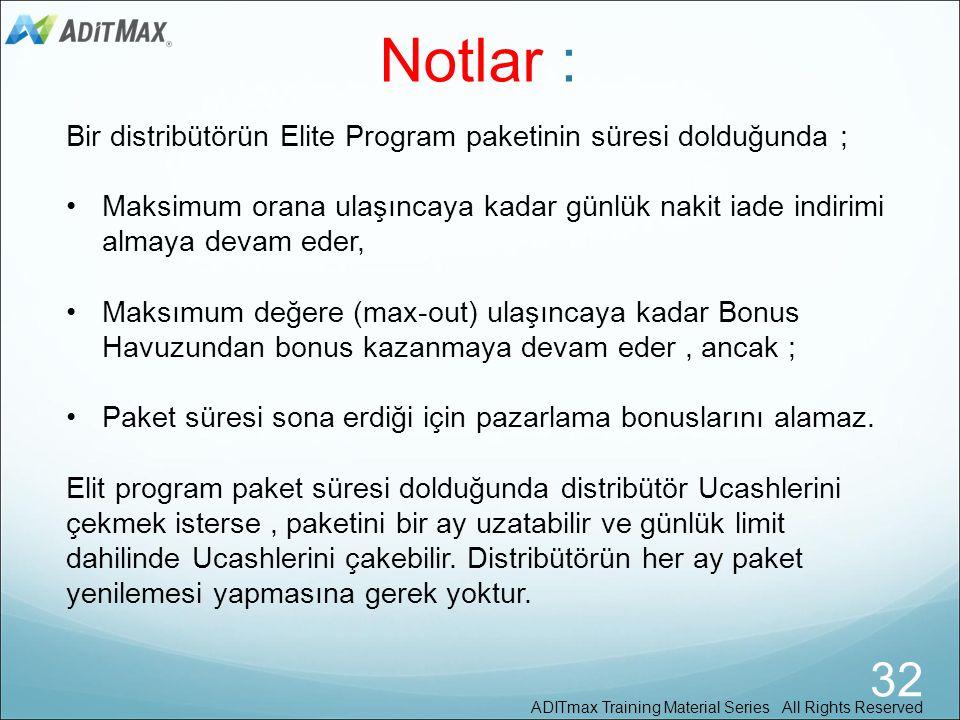 Notlar : Bir distribütörün Elite Program paketinin süresi dolduğunda ; Maksimum orana ulaşıncaya kadar günlük nakit iade indirimi almaya devam eder,
