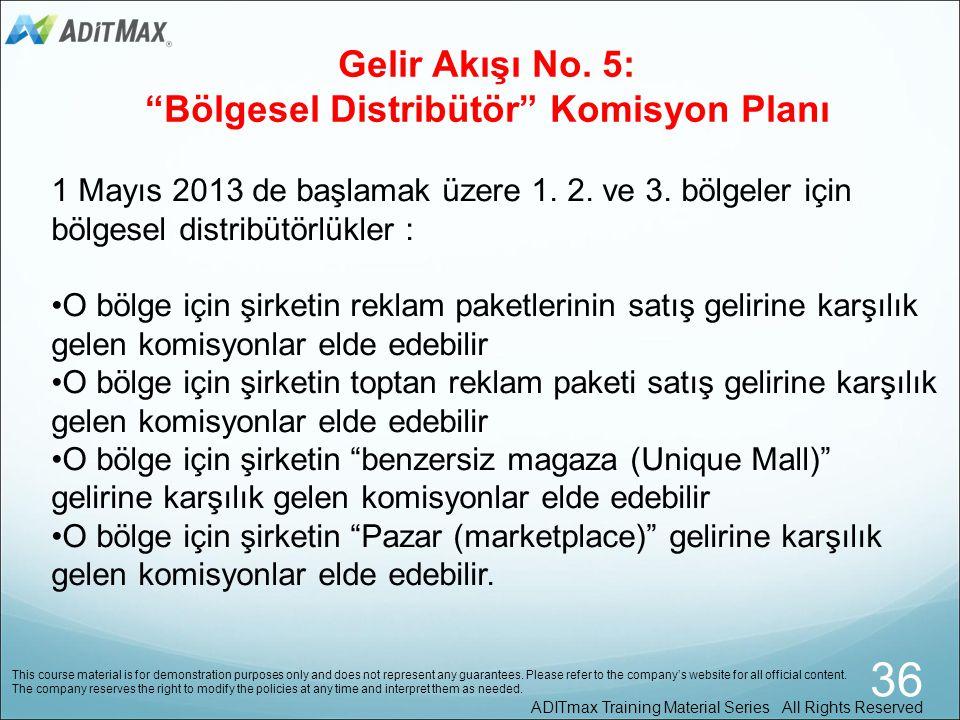 Gelir Akışı No. 5: Bölgesel Distribütör Komisyon Planı