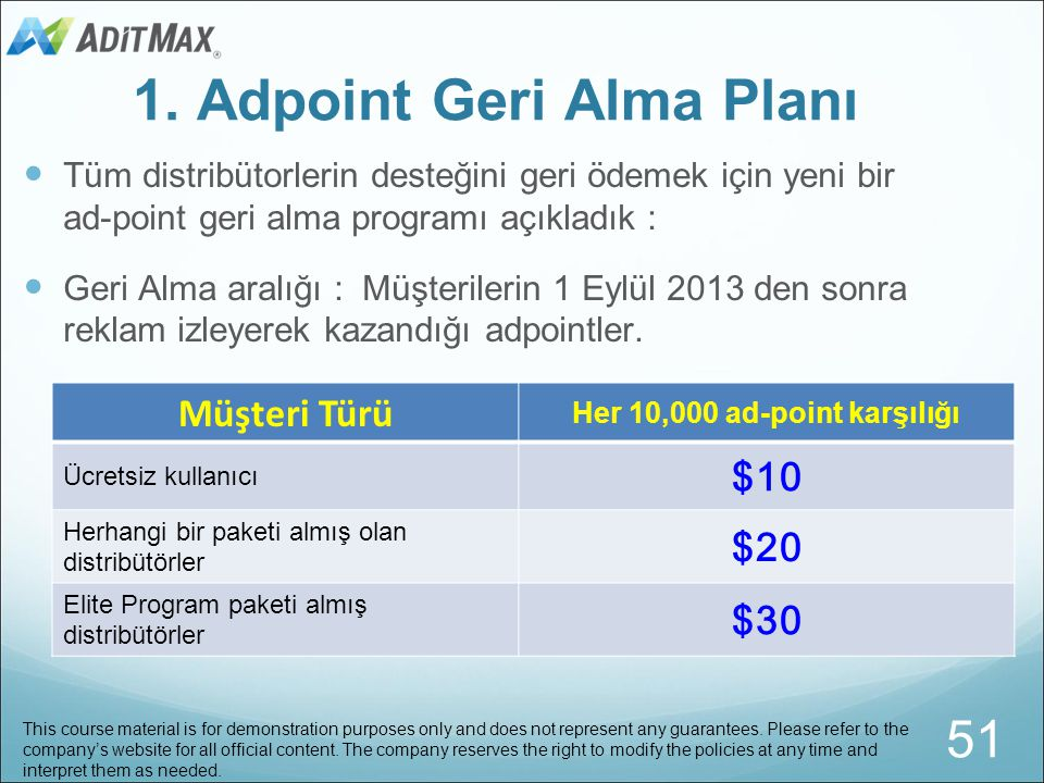 1. Adpoint Geri Alma Planı