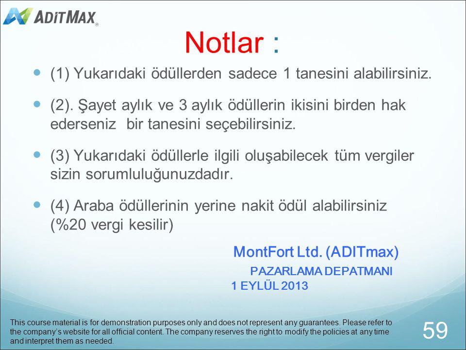 Notlar : 59 MontFort Ltd. (ADITmax)