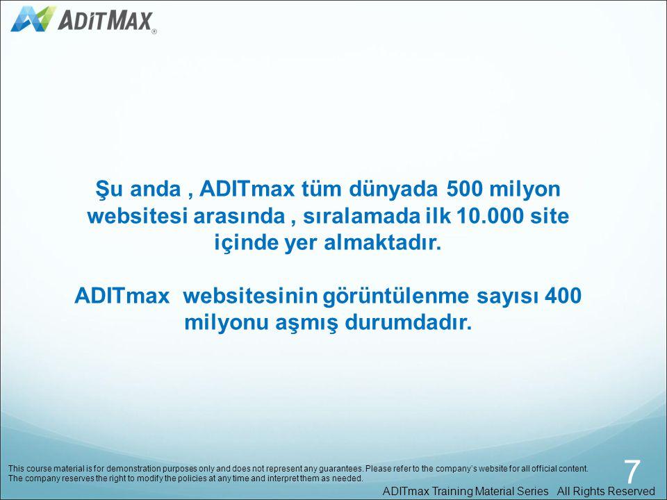 ADITmax websitesinin görüntülenme sayısı 400 milyonu aşmış durumdadır.