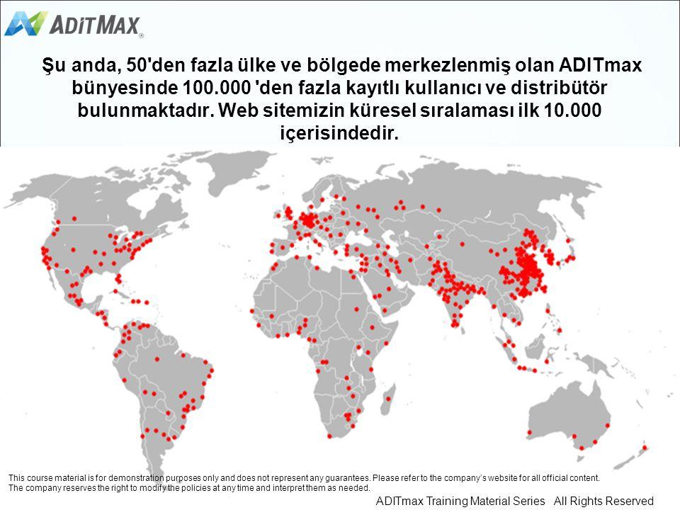 Şu anda, 50 den fazla ülke ve bölgede merkezlenmiş olan ADITmax bünyesinde 100.000 den fazla kayıtlı kullanıcı ve distribütör bulunmaktadır. Web sitemizin küresel sıralaması ilk 10.000 içerisindedir.