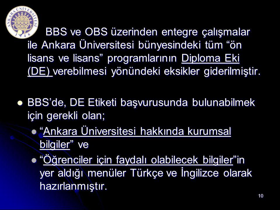 BBS ve OBS üzerinden entegre çalışmalar ile Ankara Üniversitesi bünyesindeki tüm ön lisans ve lisans programlarının Diploma Eki (DE) verebilmesi yönündeki eksikler giderilmiştir.