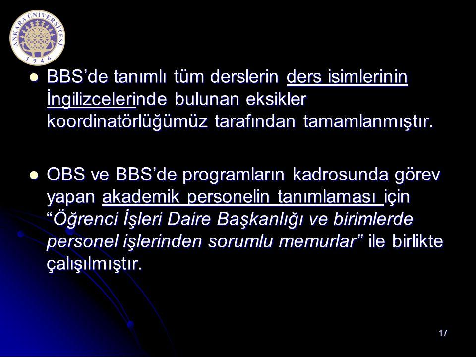 BBS'de tanımlı tüm derslerin ders isimlerinin İngilizcelerinde bulunan eksikler koordinatörlüğümüz tarafından tamamlanmıştır.