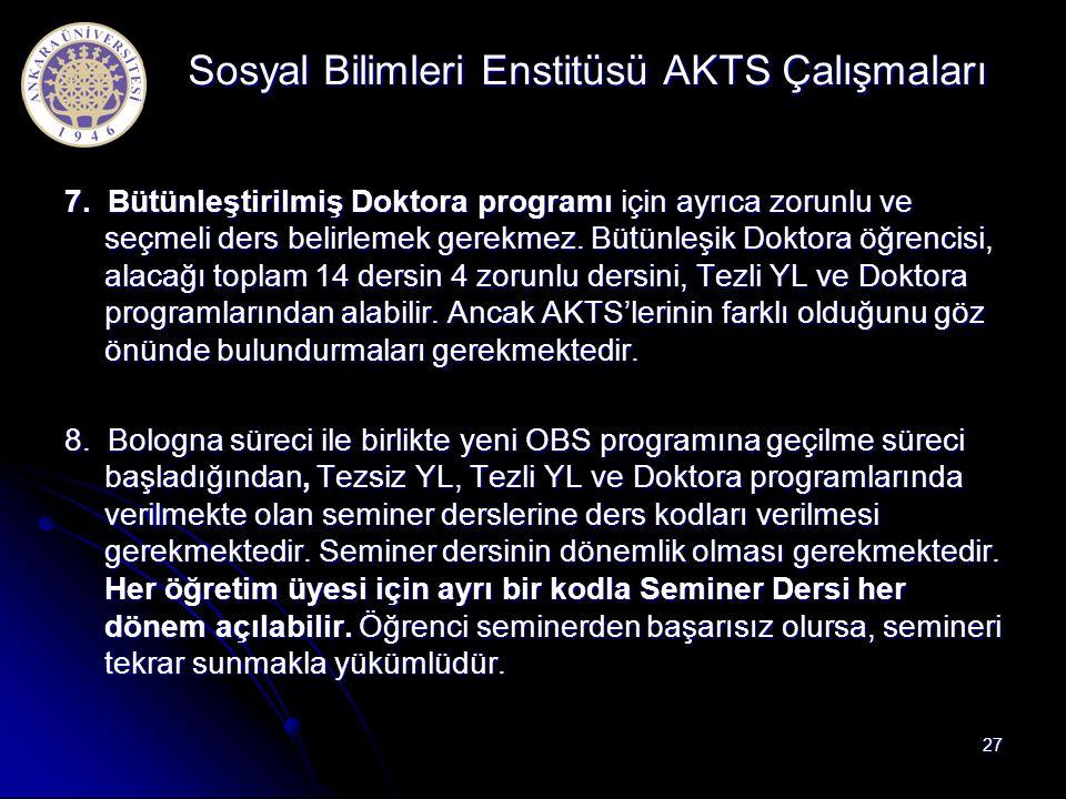 Sosyal Bilimleri Enstitüsü AKTS Çalışmaları
