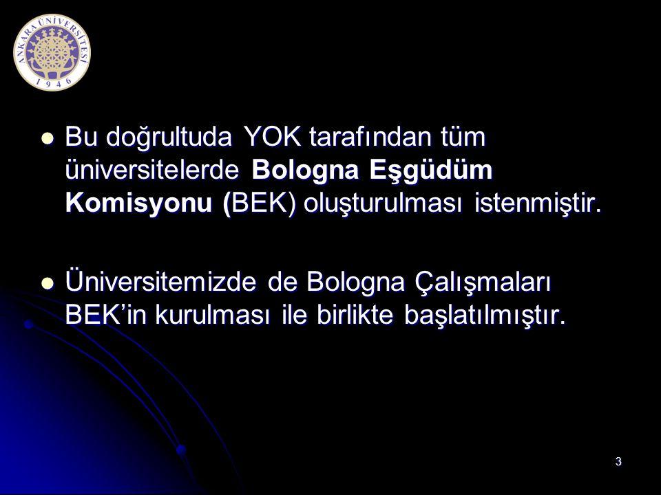 Bu doğrultuda YOK tarafından tüm üniversitelerde Bologna Eşgüdüm Komisyonu (BEK) oluşturulması istenmiştir.