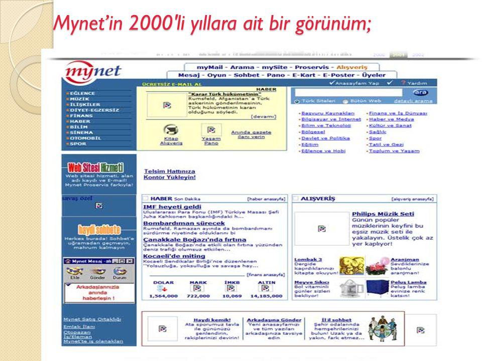 Mynet'in 2000′li yıllara ait bir görünüm;