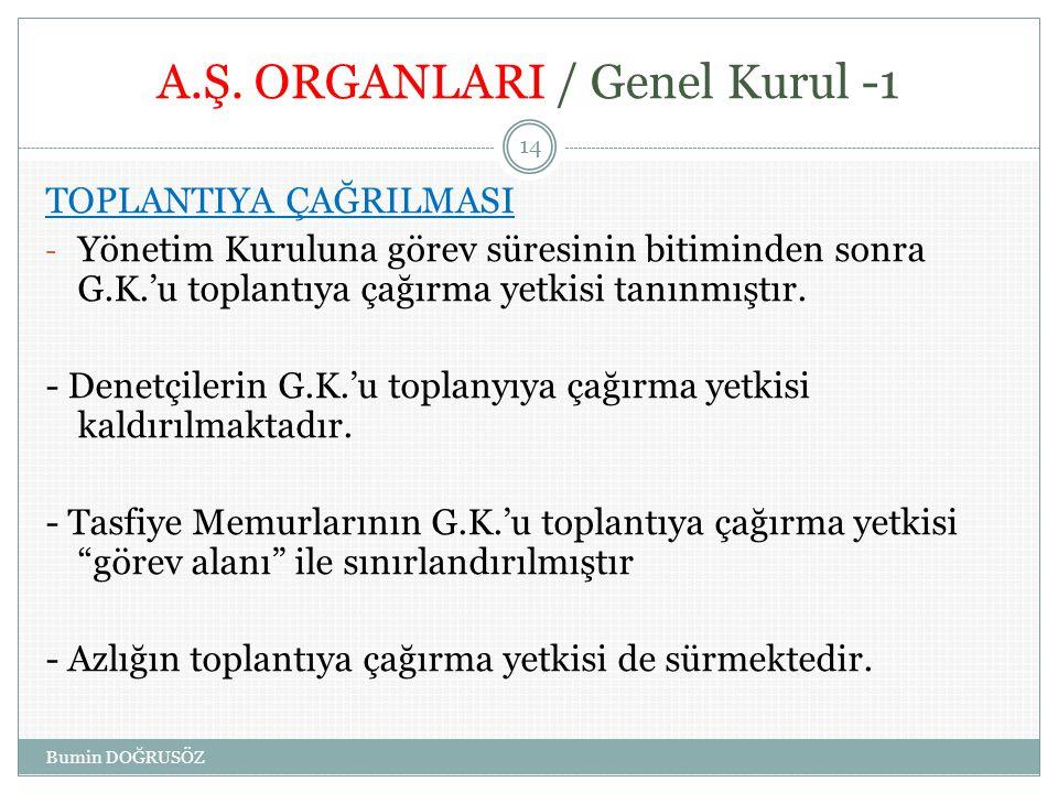 A.Ş. ORGANLARI / Genel Kurul -1