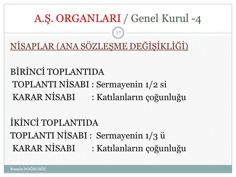 A.Ş. ORGANLARI / Genel Kurul -4