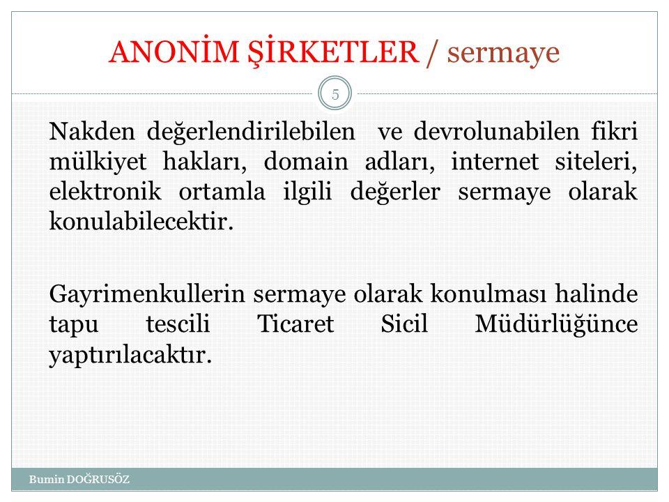 ANONİM ŞİRKETLER / sermaye