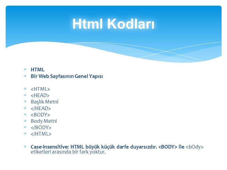 Html Kodları HTML Bir Web Sayfasının Genel Yapısı <HTML>