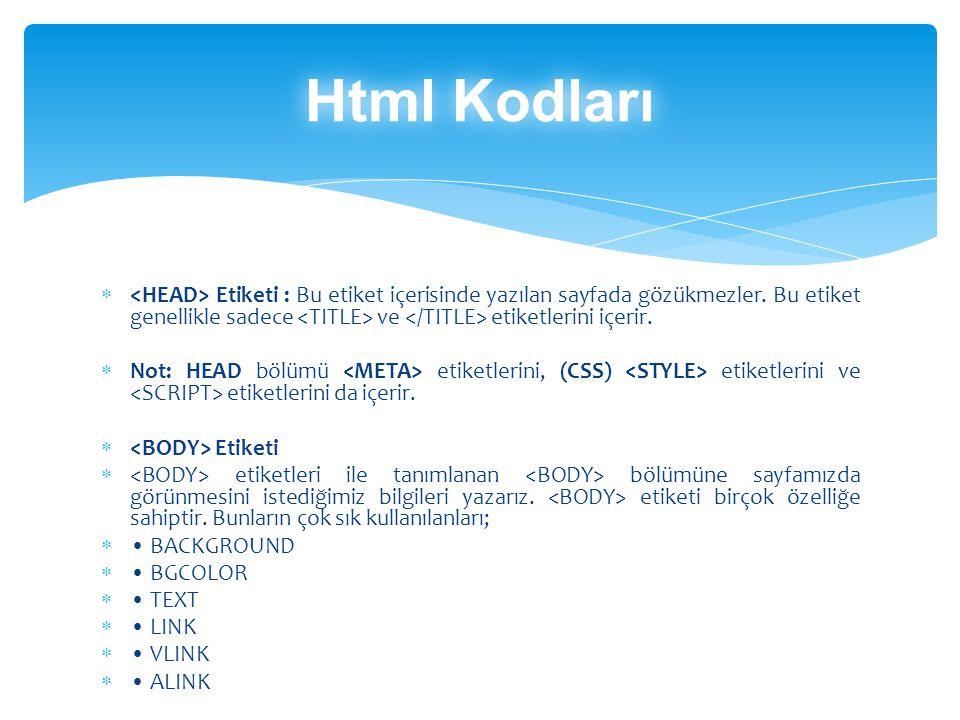 Html Kodları <HEAD> Etiketi : Bu etiket içerisinde yazılan sayfada gözükmezler. Bu etiket genellikle sadece <TITLE> ve </TITLE> etiketlerini içerir.