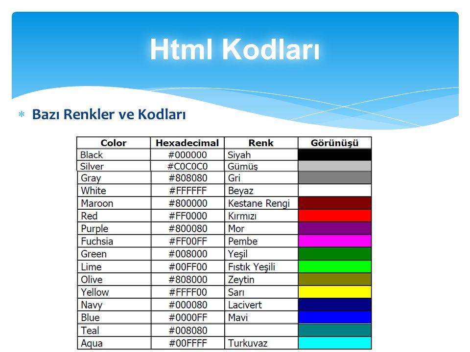 Html Kodları Bazı Renkler ve Kodları