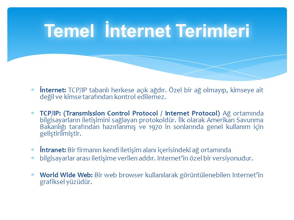 Temel İnternet Terimleri
