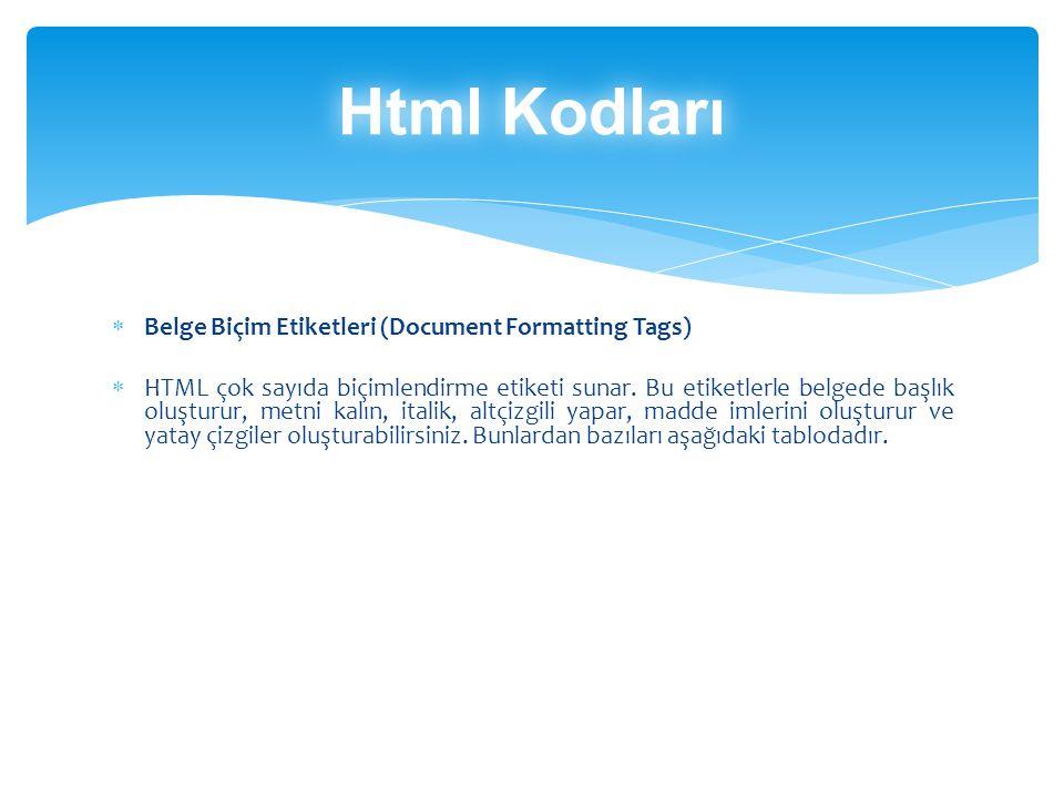 Html Kodları Belge Biçim Etiketleri (Document Formatting Tags)