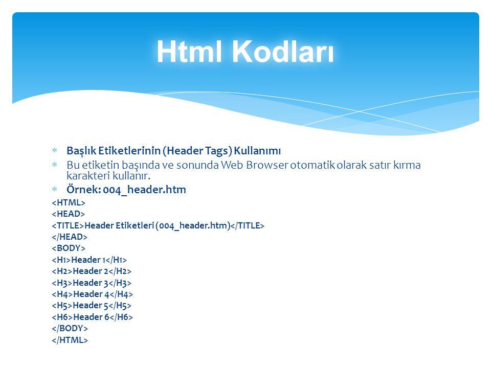 Html Kodları Başlık Etiketlerinin (Header Tags) Kullanımı