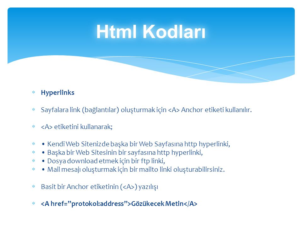 Html Kodları Hyperlinks