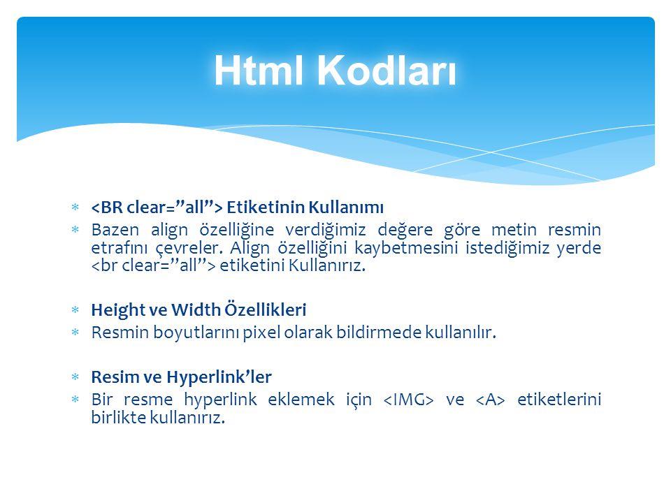 Html Kodları <BR clear= all > Etiketinin Kullanımı