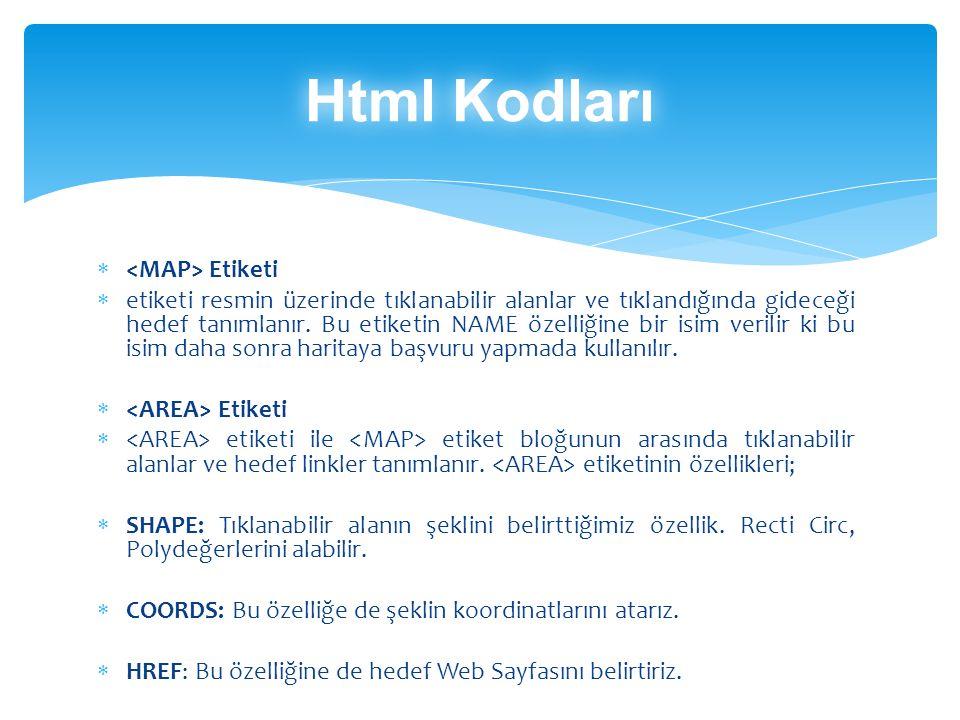 Html Kodları <MAP> Etiketi
