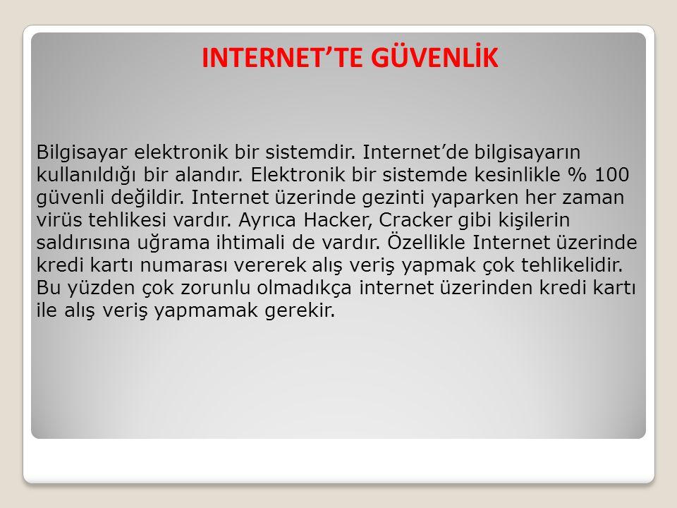 INTERNET'TE GÜVENLİK