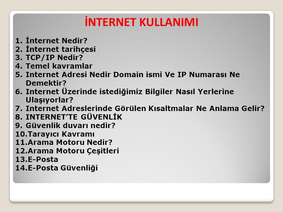 İNTERNET KULLANIMI İnternet Nedir İnternet tarihçesi TCP/IP Nedir