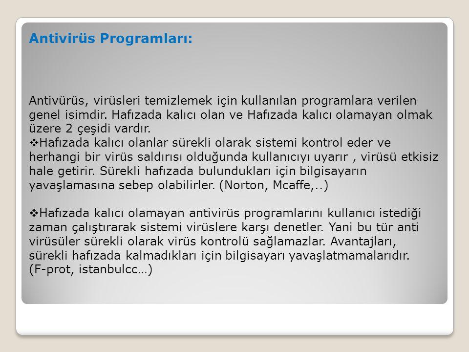 Antivirüs Programları: