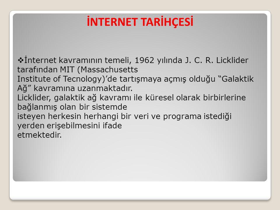 İNTERNET TARİHÇESİ İnternet kavramının temeli, 1962 yılında J. C. R. Licklider tarafından MIT (Massachusetts.