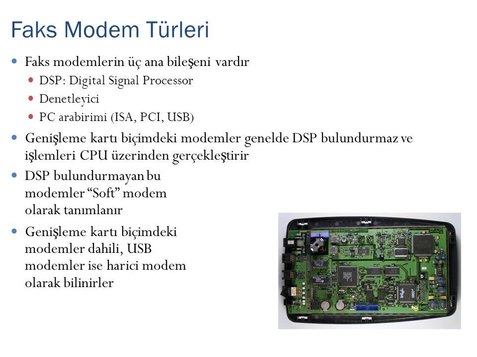 Faks Modem Türleri Faks modemlerin üç ana bileşeni vardır