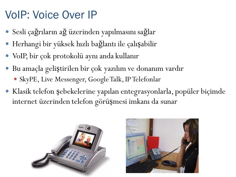 VoIP: Voice Over IP Sesli çağrıların ağ üzerinden yapılmasını sağlar